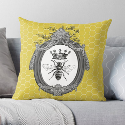 Queen Bee square indoor throw pillows, cushions, by Eclectic at HeART