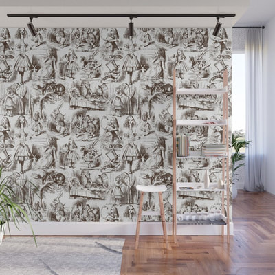 Alice in Wonderland toile de jouy wall mural by Eclectic at HeART