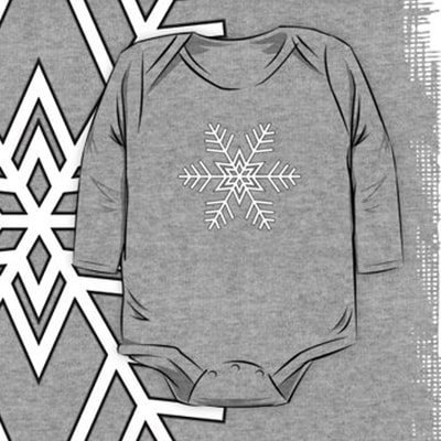 Snowflake baby one piece with long sleeves by Eclectic at HeART