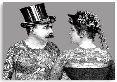 Tattooed Victorian Lovers canvas art print by Eclectic at HeART