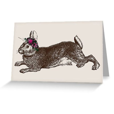 Rabbit and Roses greeting card by Eclectic at HeART