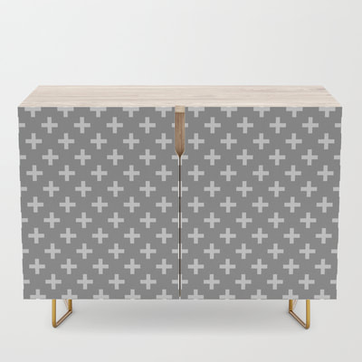 Criss Cross Pattern,  Plus Sign Pattern, Credenza, Buffet, Grey and White, Gray and White, by Eclectic at HeART
