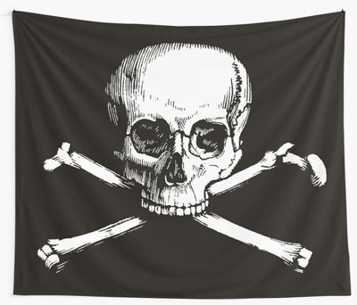 Skull and Crossbones wall tapestry by Eclectic at HeART