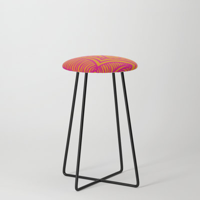 Counter Stool, Pink and Orange floral pattern, by Eclectic at HeART