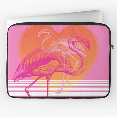 Pink Flamingos laptop sleeve by Eclectic at HeART