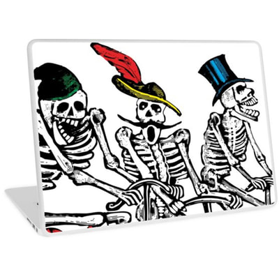 Calavera Cyclists laptop skins from by Eclectic at HeART