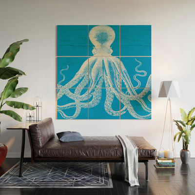 Vintage Octopus wooden wall art by Eclectic at HeART
