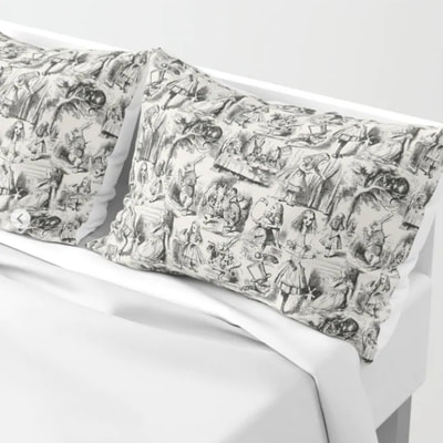 Alice in Wonderland toile de jouy pattern pillow shams, pillow cases, by Eclectic at HeART