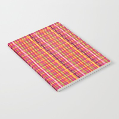 Pink Plaid Pattern softcover notebook by Eclectic at HeART