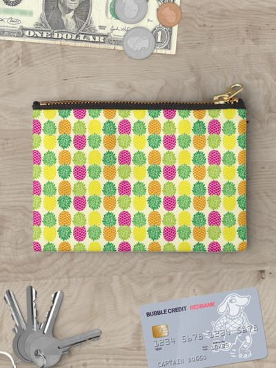Pineapple Pattern studio pouches, pencil cases, by Eclectic at HeART