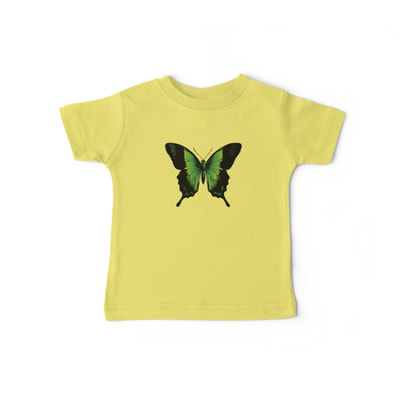 Green Butterfly baby t-shirts Rabbit Pattern baby one piece with short sleeves by Eclectic at HeART