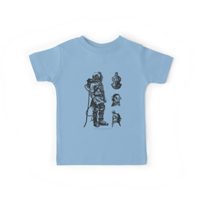 Vintage Deep Sea Diver kid's t-shirts Rabbit Pattern baby one piece with short sleeves by Eclectic at HeART