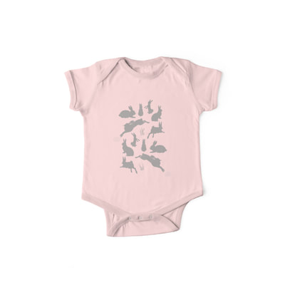 Rabbit Pattern baby one piece with short sleeves by Eclectic at HeART