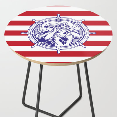 Sail Away with Me, Nautical themed side table in red, white and blue, by Eclectic at HeART
