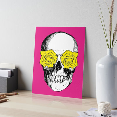 Skull and Roses art board by Eclectic at HeART