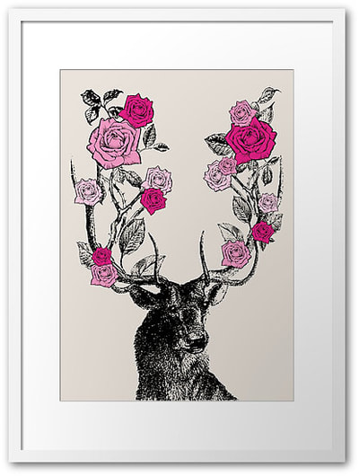 Stag and Roses art print by Eclectic at HeART