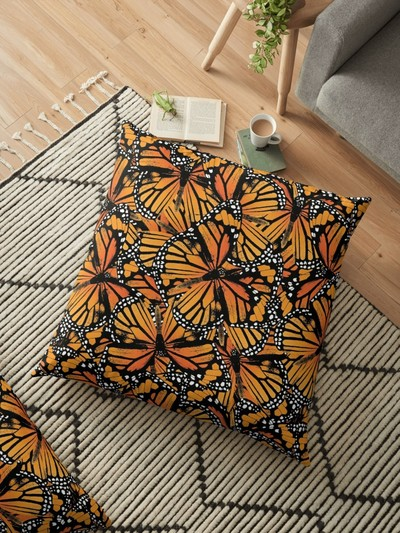 Monarch Butterfly Pattern square floor pillow, cushion, by Eclectic at HeART