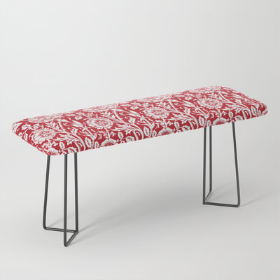 William Morris Floral Pattern, Red and White, Bench Seat, from Eclectic at HeART