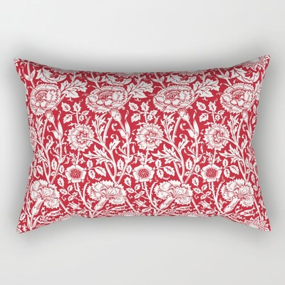 William Morris vintage floral pattern rectangular indoor throw pillows, cushions, by Eclectic at HeART