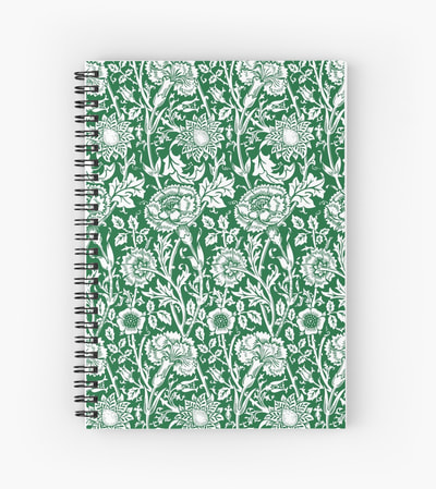 William Morris vintage floral pattern spiral notebooks from Eclectic at HeART