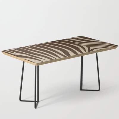 Zebra Stripe Pattern Coffee Table, Chocolate Brown and Beige, by Eclectic at HeART