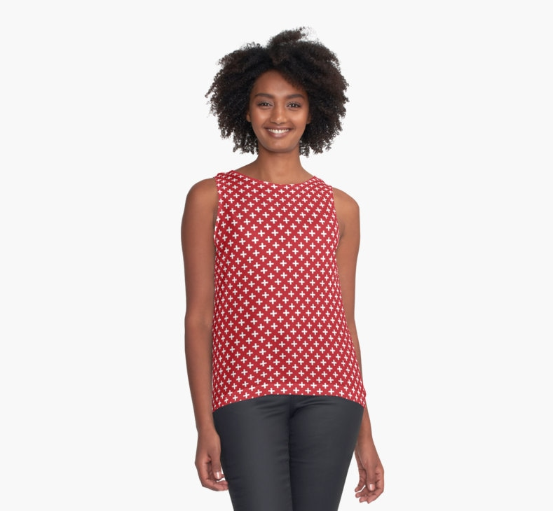Criss Cross Pattern, Plus Sign, Chiffon Top by Eclectic at HeART
