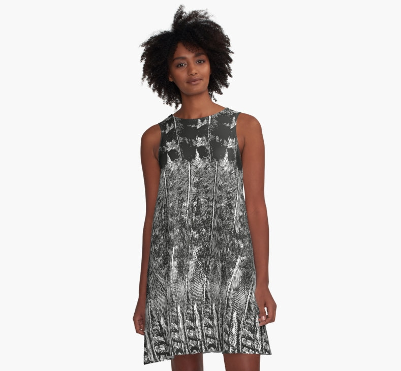 Feather Pattern, Black and White, A-Line Dress by Eclectic at HeART