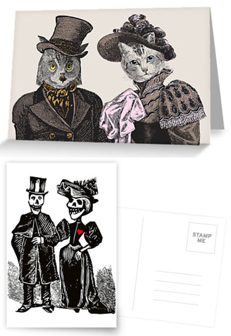 Owl and Pussycat Greeting Card by Eclectic at HeART