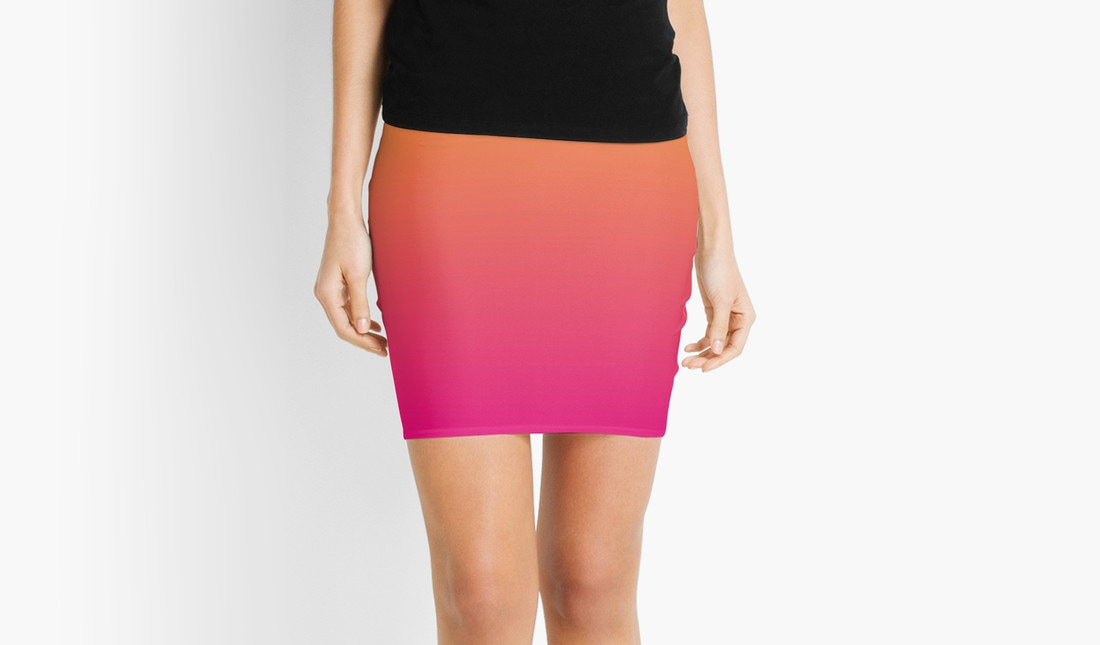Ombre, Pink and Orange, Pencil Skirt by Eclectic at HeART